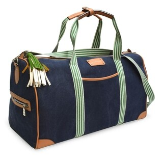 Adrienne Vittadini Canvas Collection Blue 22-inch Duffel Bag
