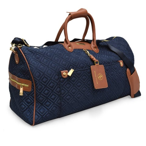 Adrienne Vittadini Diamond Quilted Navy 22-inch Duffel Bag