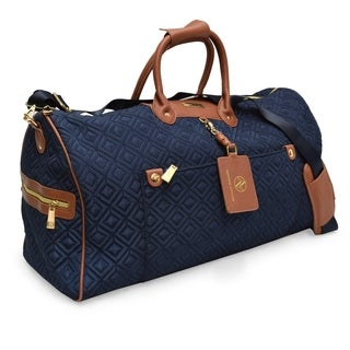 Adrienne Vittadini Diamond Quilted Navy 22-inch Duffel Bag