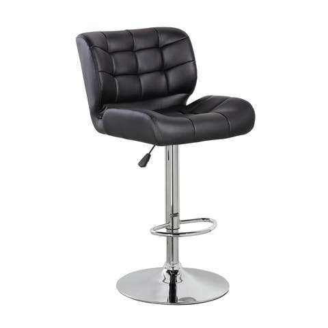 Faux Leather Adjustable Swivel Bar or Counter Stool with Thick Padded Back and Seat, Set of 2