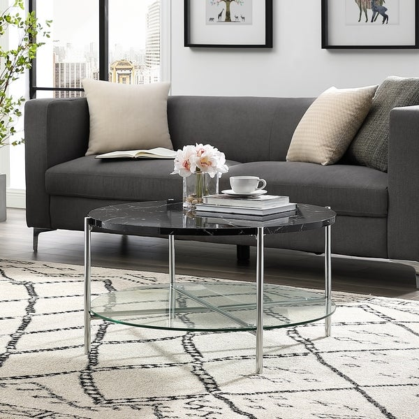 """Shop 32"""" Round Faux Marble Coffee Table"""