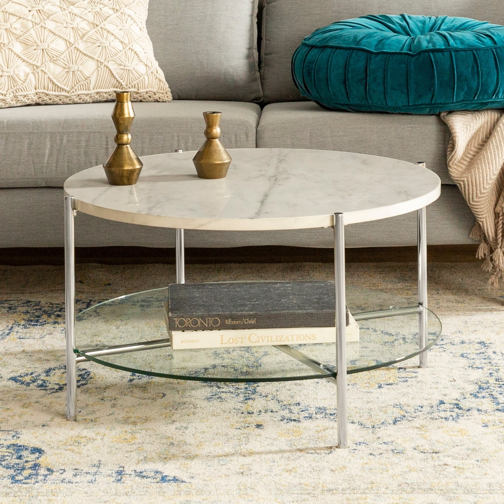 Silver Orchid Howell Faux Marble 30 Inch Round Accent Coffee Cocktail Table