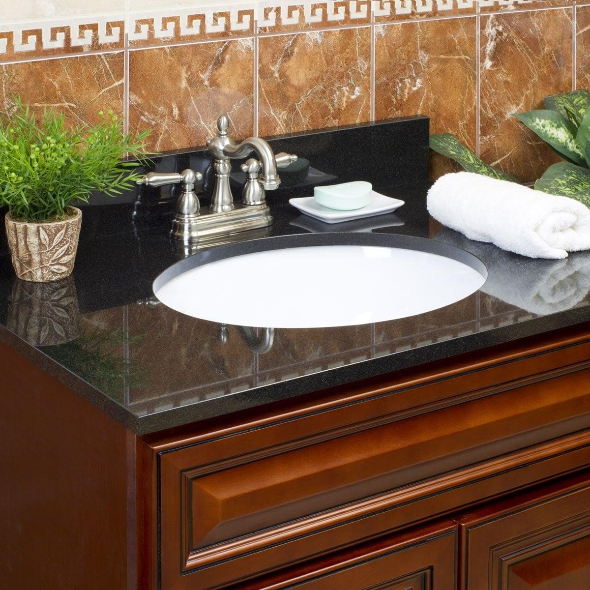 Vanity Top Granite Absolute Black 43x22 With Backsplash 4 In Spread Overstock 22536600