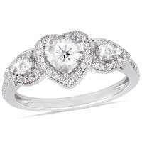 Miadora Sterling Silver 1/3ct TDW Diamond Triple Heart Halo Engagement Ring
