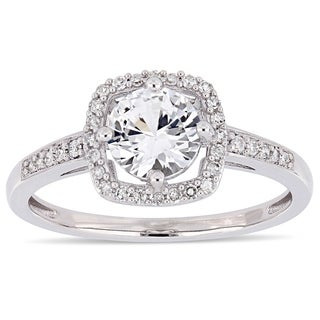 Miadora 10k White Gold Created White Sapphire and 1/7ct TDW Diamond Floating Square Halo Engagement Ring