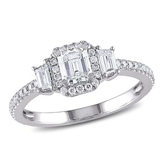Miadora 14k White Gold 1ct TDW Diamond Emerald and Trapezoid-Cut 3-Stone Halo Engagement Ring