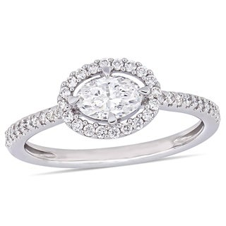 Miadora 14k White Gold 3/4ct TDW Diamond Oval and Round-Cut Floating Halo Engagement Ring
