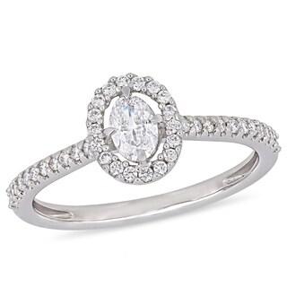 Miadora 14k White Gold 1/2ct TDW Diamond Floating Halo Engagement Ring