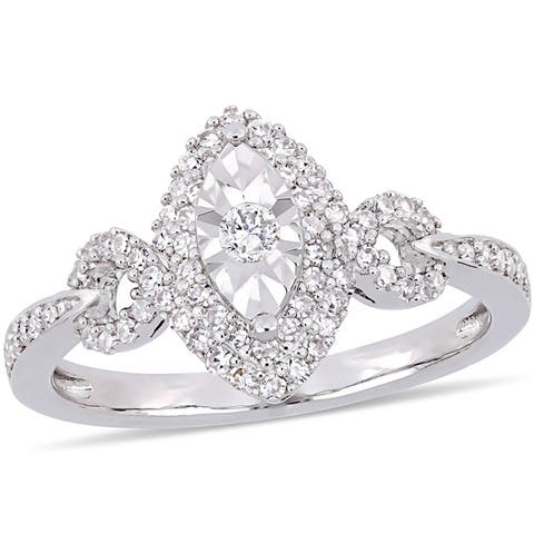 Miadora Signature Collection Sterling Silver 1/3ct TDW Diamond Crossover Marquise Halo Engagement Ring