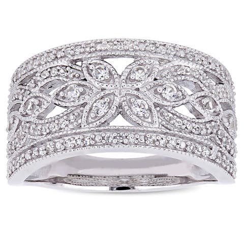 Miadora Signature Collection 10k White Gold Created White Sapphire Floral Infinity Anniversary Band