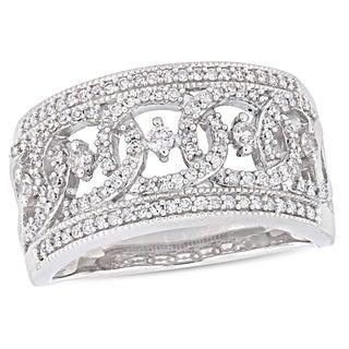 Miadora 10k White Gold 1 2ct TDW Diamond Wide Interlaced Circle Anniversary Band