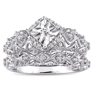 Miadora Sterling Silver 1/5ct TDW Diamond Infinity Bridal Ring Set (More options available)