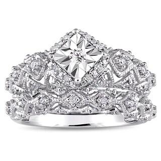 Miadora Sterling Silver 1/5ct TDW Diamond Infinity Bridal Ring Set