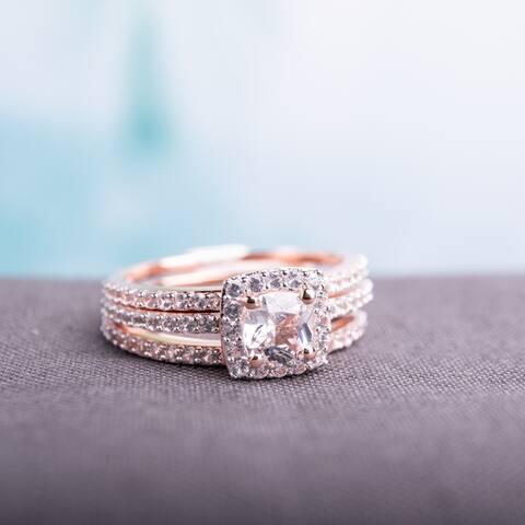 Miadora Rose Silver Created White Sapphire Halo Bridal 3-Ring Set