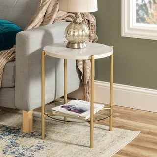 Silver Orchid Howell 20-inch Round End Side Table, Modern with Glass Shelf, for Living Room