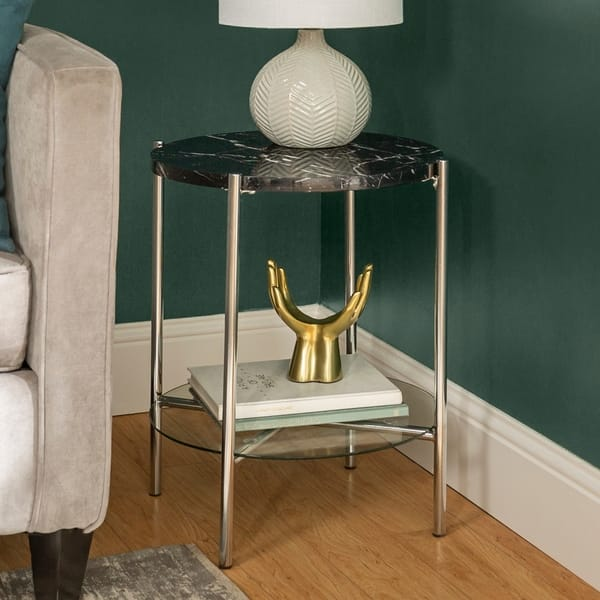 Shop Silver Orchid Howell 20-inch Round End Side Table ...