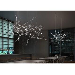 Sonneman Lighting Constellation 13-light Satin Nickel Pendant, Clear Faceted Shade