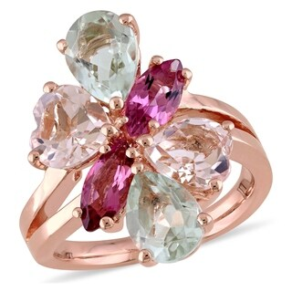 Miadora Signature Collection Rose Plated Sterling Silver Morganite Green Amethyst and Pink Tourmaline Cluster Ring