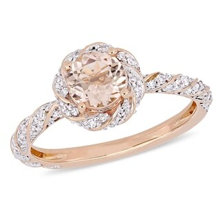 Miadora 10k Rose Gold Morganite and 1/4ct TDW Diamond Twisted Halo Engagement Ring