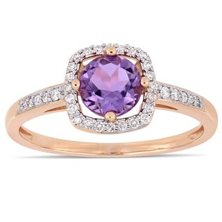 Link to Miadora 10k Rose Gold Amethyst and 1/7ct TDW Diamond Floating Square Halo Ring Similar Items in Earrings