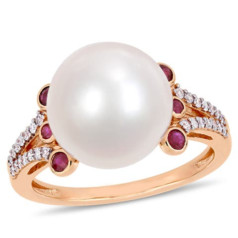Miadora 10k Rose Gold Cultured Freshwater Pearl 1/7ct TDW Diamond Ruby Cocktail Ring (11-12mm)