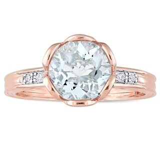 Miadora 10k Rose Gold Aquamarine and 1/8ct TDW Diamond Floral Ring