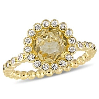 Miadora 10k Yellow Gold Citrine And White Sapphire Beaded Halo Solitaire Engagement Ring