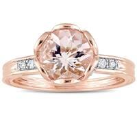 Miadora 10k Rose Gold Morganite & 1/8ct TDW Diamond Floral Ring
