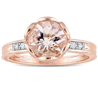 Miadora 10k Rose Gold Morganite & 1/8ct TDW Diamond Floral Ring