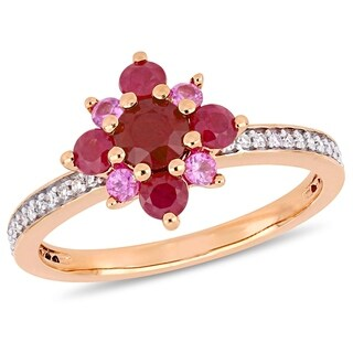 Miadora 14k Rose Gold Ruby Pink Sapphire and 1/6ct TDW Diamond Cluster Star Ring - Red