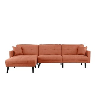 Linen/Wood Mid-century 2-pillow Futon Sectional Sofa (Option: Assembly Required - Orange - Left Facing)