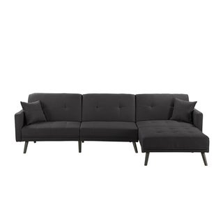 Linen/Wood Mid-century 2-pillow Futon Sectional Sofa