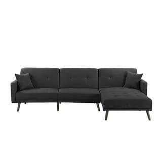 Linen/Wood Mid Century 2 Pillow Futon Sectional Sofa