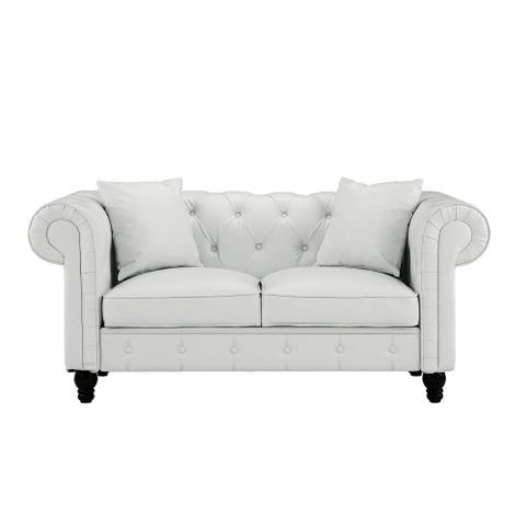 Chesterfiled Bonded Leather Loveseat Sofa