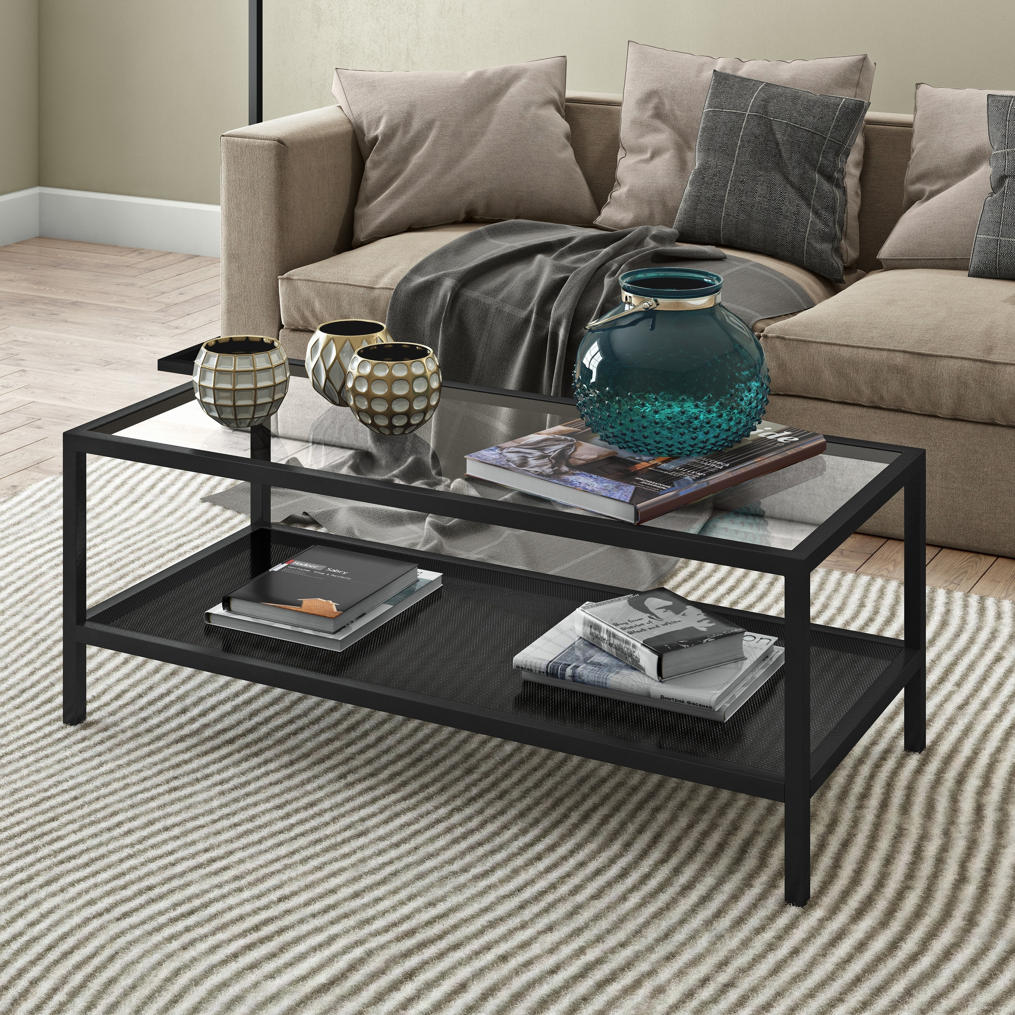Details About Rigan Metal/Glass Rectangular Coffee Table In Blackened Bronze