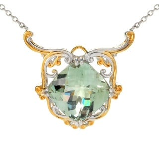 Michael Valitutti Palladium Silver Cushion Checktop Green Amethyst Drop Necklace