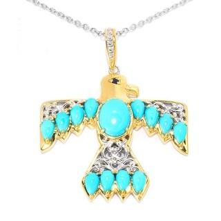 Michael Valitutti Palladium Silver Sleeping Beauty Turquoise Thunderbird Pendant