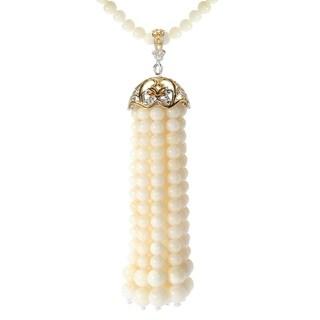 Michael Valitutti Palladium Silver White Coral Tassel Pendant w/ Beaded Strand Necklace