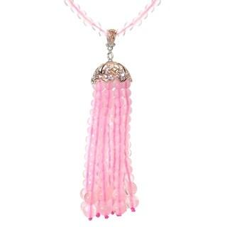 Michael Valitutti Palladium Silver Rose Quartz Tassel Pendant w/ Beaded Strand Necklace