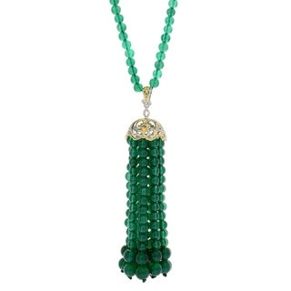 Michael Valitutti Palladium Silver Green Chalcedony Tassel Pendant w/ Beaded Strand Necklace