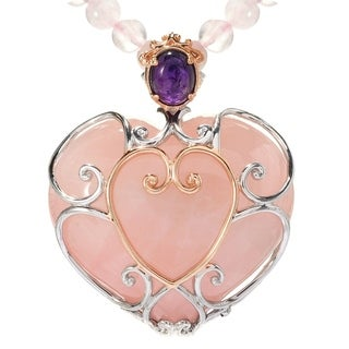 Michael Valitutti Palladium Silver Heart Rose Quartz Amethyst Necklace