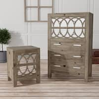 Alessa Contemporary Rustic Natural 2-piece Chest and Nightstand Set