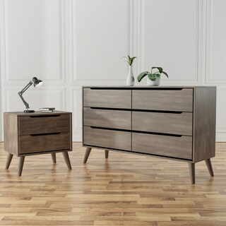Furniture of America Corrine Mid-century Modern 2-piece Grey Dresser and Nightstand Set