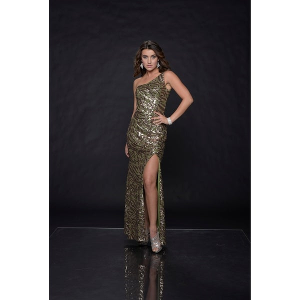 d64550bd9ffa Shop Green Camouflage Sequin-Accent Side Slit Evening Gown - Free Shipping  Today - Overstock - 22537322