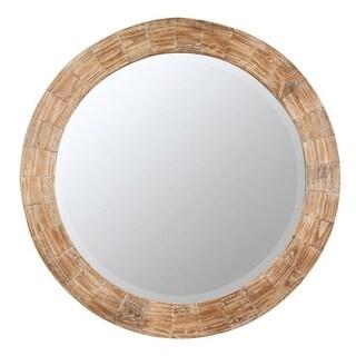 "Cayman 31.5"" Diameter Wood Wall Mirror - Light Brown"