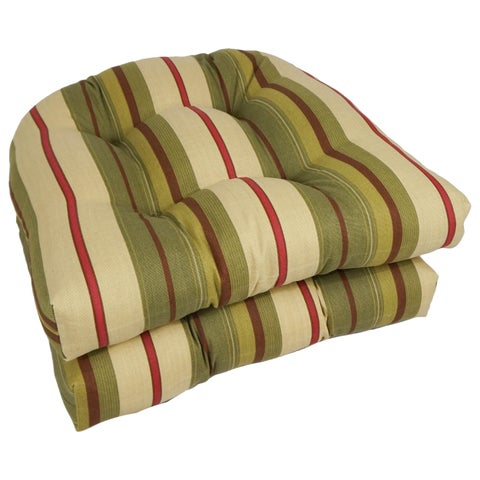 Blazing Needles 19-inch All-Weather U-Shape Chair Cushion (Set of 2)