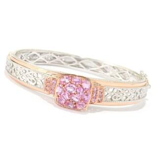 Michael Valitutti Palladium Silver Pink Sapphire Cluster Bangle Bracelet