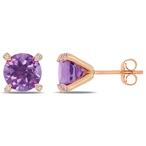 Miadora 10k Rose Gold 3ct TGW Amethyst and Diamond Accent Solitaire Martini-Stud Earrings