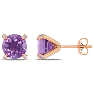 Link to Miadora 10k Rose Gold 3ct TGW Amethyst and Diamond Accent Solitaire Martini-Stud Earrings Similar Items in Earrings