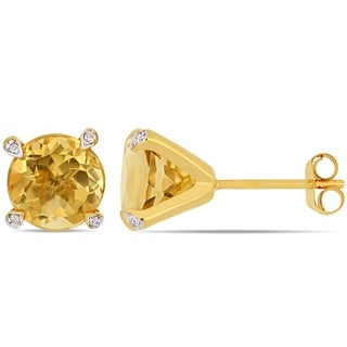 Miadora 10k Yellow Gold 3 5/8ct TGW Citrine and Diamond Accent Solitaire Martini-Stud Earrings